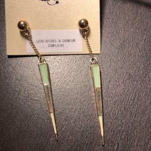 Teal & Gold Earrings